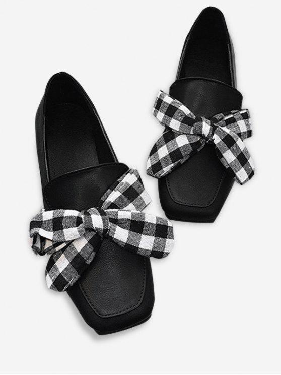 Slip On Bowknot Square Toe Flat Shoes - Noir 39