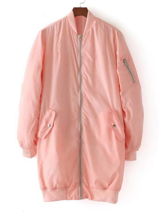 sale Long Zip Up Padded Coat - PINK M