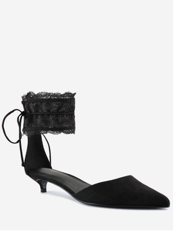 Cinturino in pizzo punta a punta due pezzi di sandalo - Nero 40