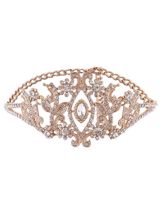 Sparkly Rhinestone-Legierungs-Blatt-Halskette - Golden