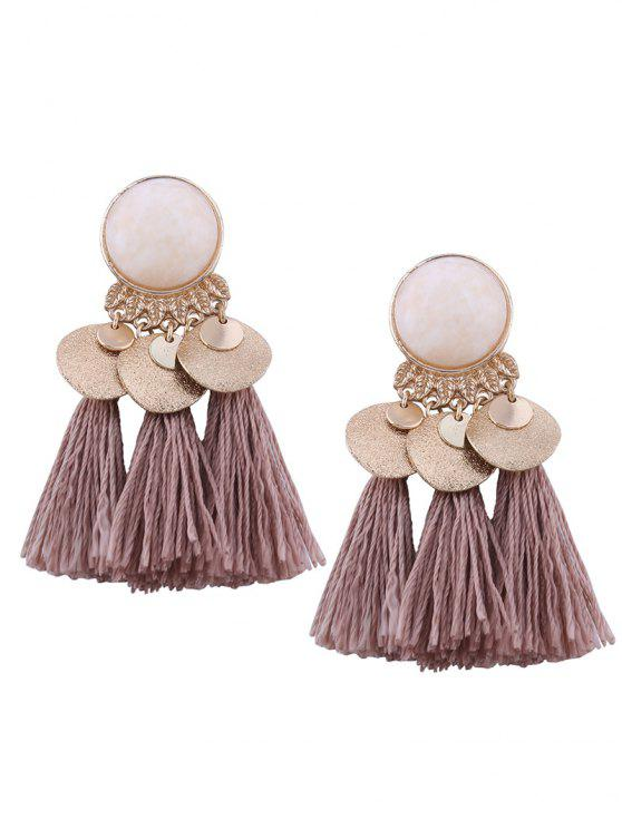 Faux Gem Leaf Disc Tassel Earrings - Café