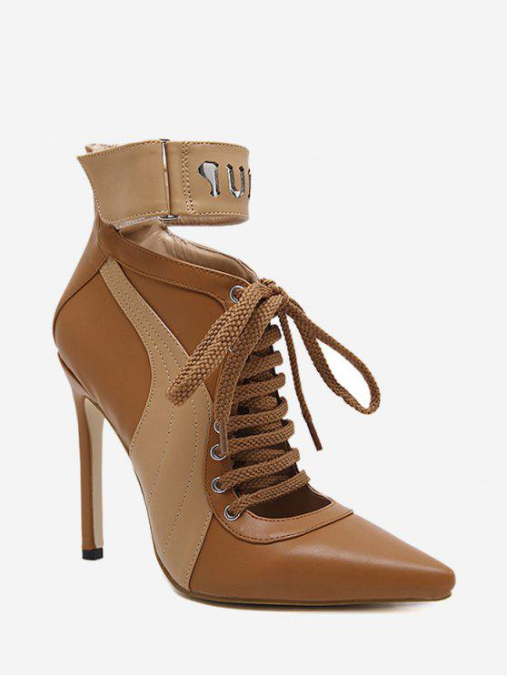 Stitching Pointed Toe Stiletto Ankle Boots - Marrom 39