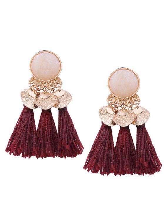 Faux Gem Leaf Disc Tassel Earrings - Vinho vermelho