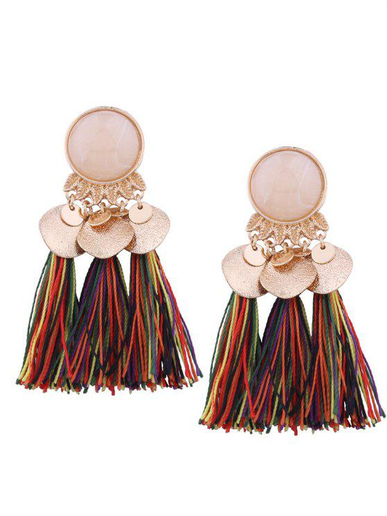 outfit Faux Gem Leaf Disc Tassel Earrings - COLORMIX