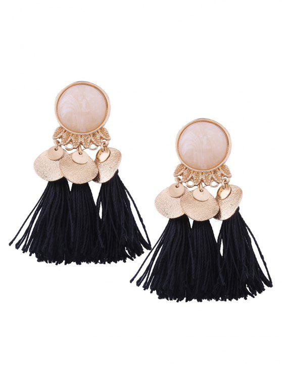 Faux Gem Leaf Disc Tassel Earrings - Preto