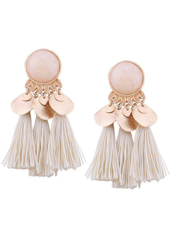 shop Faux Gem Leaf Disc Tassel Earrings - WHITE
