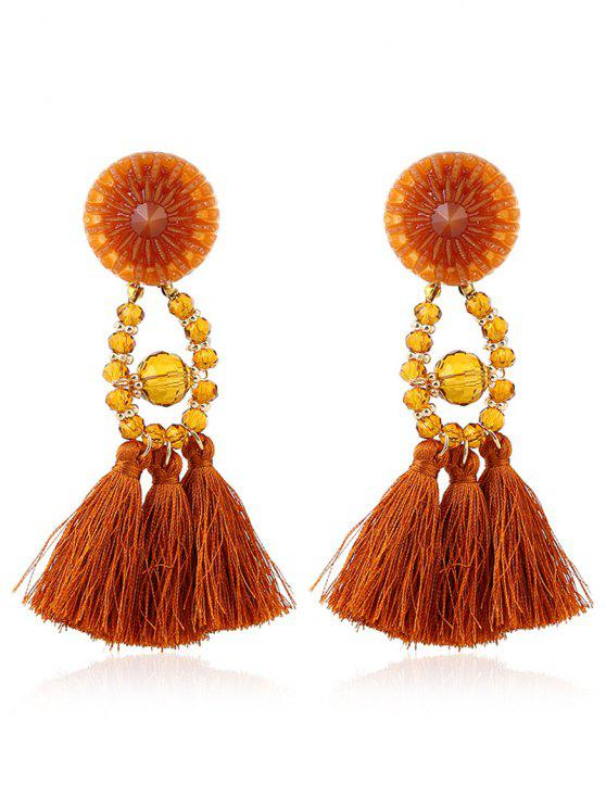 shops Bohemian Beaded Tassel Earrings - YELLOW