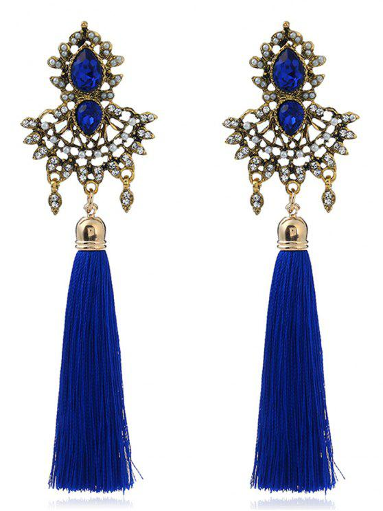 Rhinestone Faux Sapphire Tassel Earrings - Azul