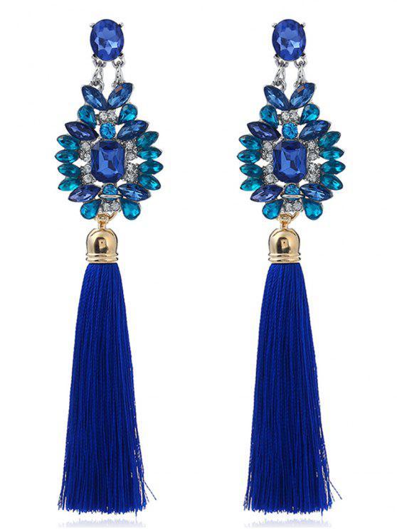 Pendientes geométricos de la borla del zafiro del faux - Azul