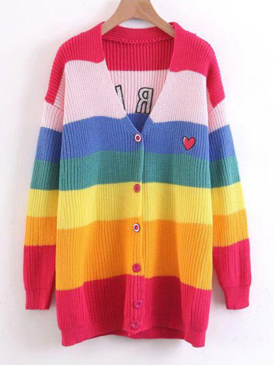 unique Stripes Button Up Heart Embroidered Sweater - MULTICOLOR ONE SIZE