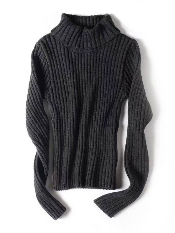 Camisola com nervuras esticadas com gola de gola - Cinza Escuro S
