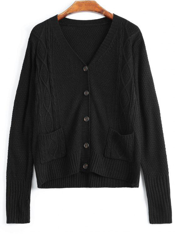 V Neck Button Up Cardigan With Pockets BLACK: Sweaters S | ZAFUL