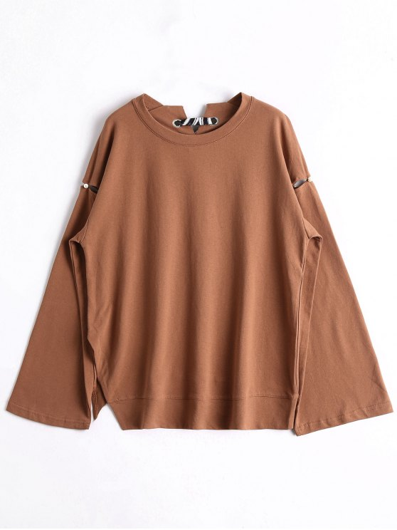 Sweat-shirt Oversize Perlé à Ruban - BRUN TAILLE MOYENNE