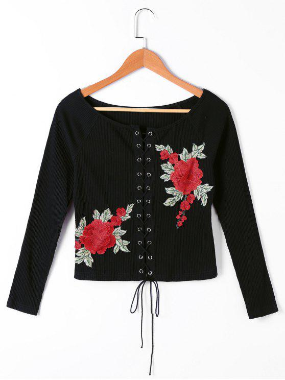 womens Floral Embroidered Lace Up Ribbed Ralgan Sleeve Top - BLACK L