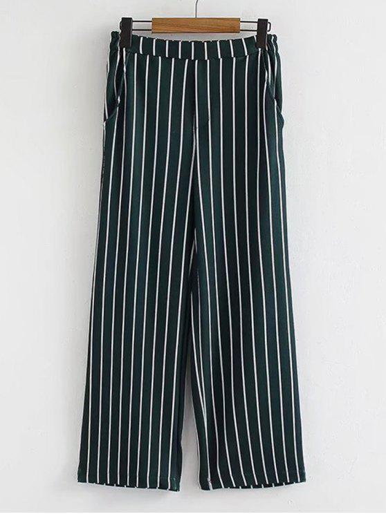 Casual High Waisted Stripes Wide Leg Pants - Listras M