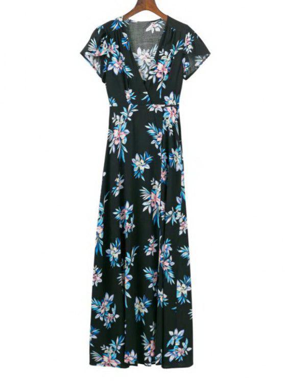 Cap manga flor envuelto vestido maxi - Floral M