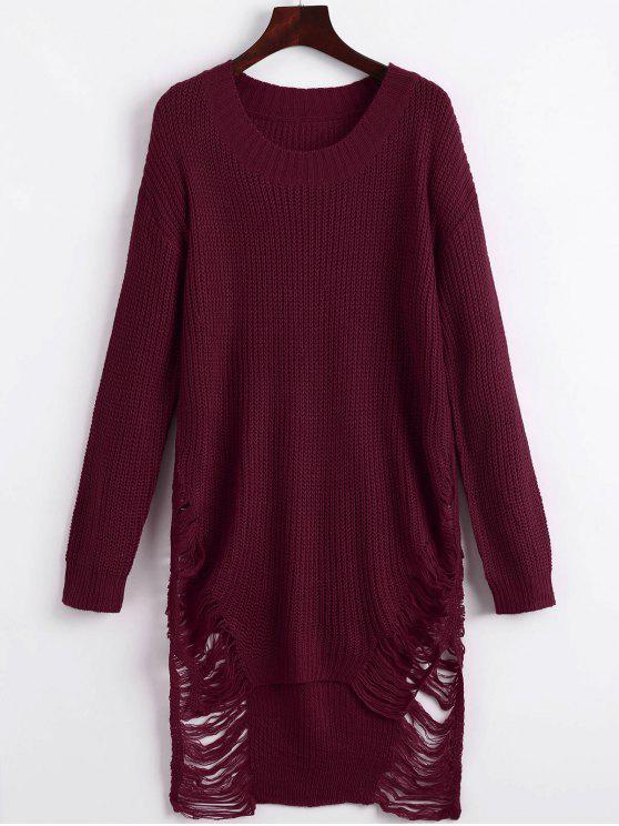 fancy Distressed Mini Sweater Dress - WINE RED S