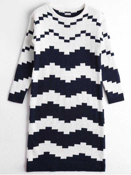 sale Two Tone Sweater Dress - BLUE AND WHITE ONE SIZE