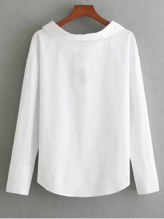 trendy Long Sleeve Bowknot Back Blouse - WHITE S