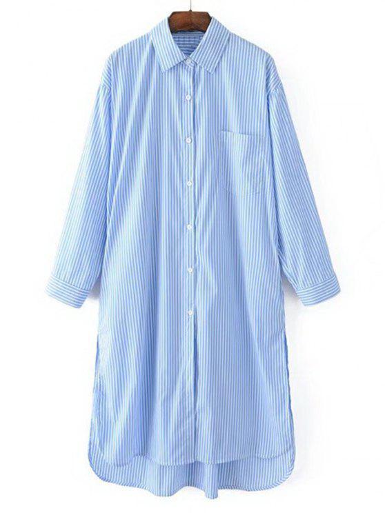 Manga larga de alta baja rayas camisa vestido - Raya Única Talla