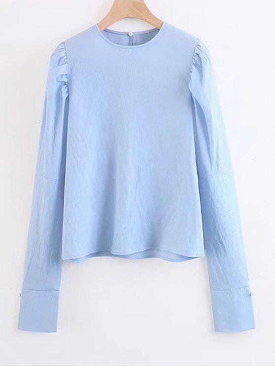outfit Long Sleeve Keyhole Blouse - LIGHT BLUE S