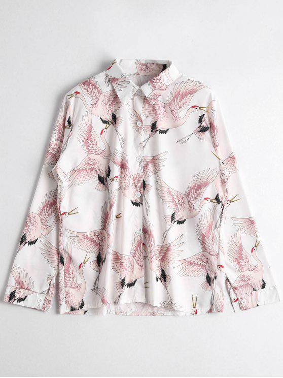 shops Birds Print Button Up Shirt - WHITE ONE SIZE