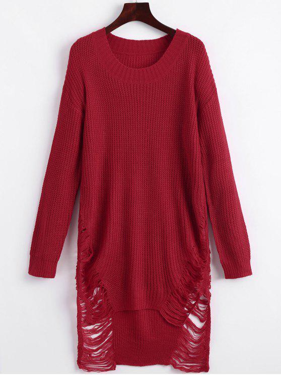 Vestido de mini camisola afligida - Vermelho L