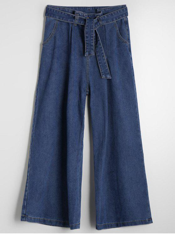 womens High Waisted Belted Wide Leg Jeans - DENIM BLUE L