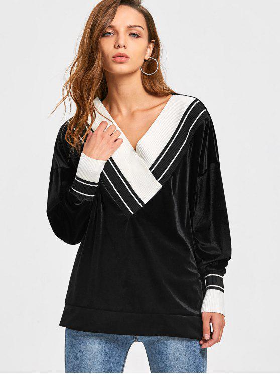 V Neck Two Tone Velvet Sweatshirt - Black L