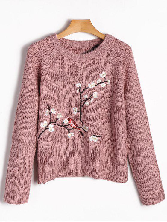 Raglan Sleeve Floral Bordado Chunky Sweater - Rosada Roxa L