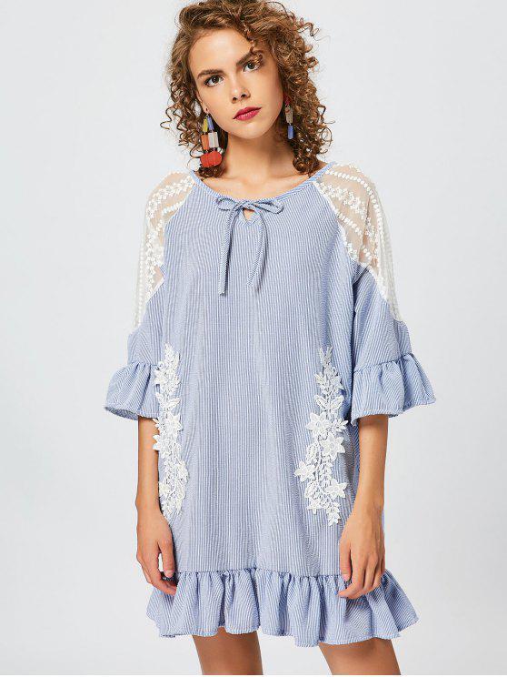 Flor Applique vestido de túnica de rayas - Azul Única Talla