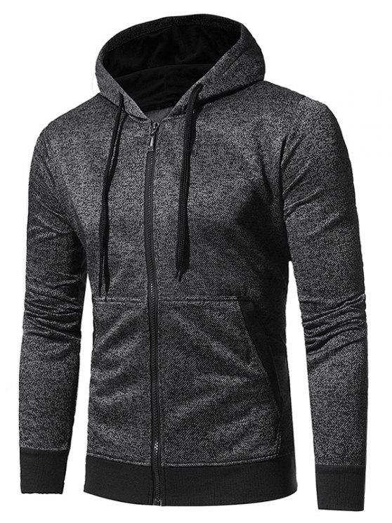 ladies Hooded Pouch Pocket Fleece Zip Up Hoodie - BLACK M