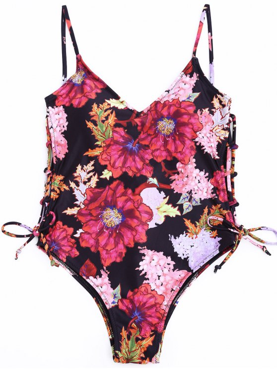 shop Side Cutout Floral One Piece Swimsuit - FLORAL S
