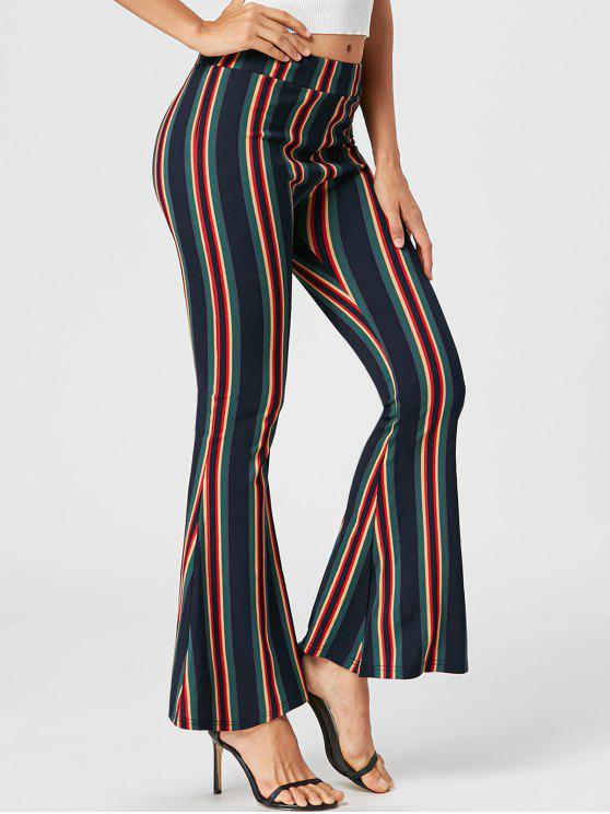 31 Off 2021 Pantalones Acampanados A Rayas En Colores Mezclados Zaful America Latina