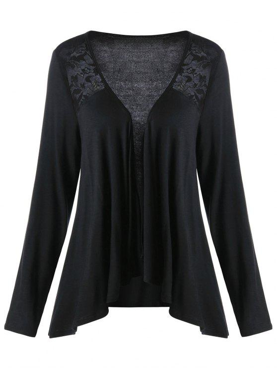 Lace Panel Plus Size Drape Cardigan - Preto XL