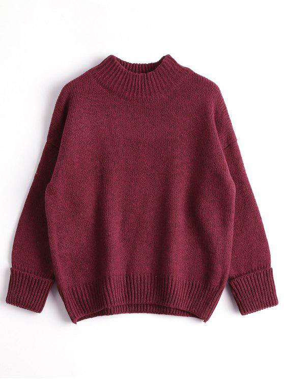 trendy Loose Heathered Mock Neck Sweater - WINE RED ONE SIZE