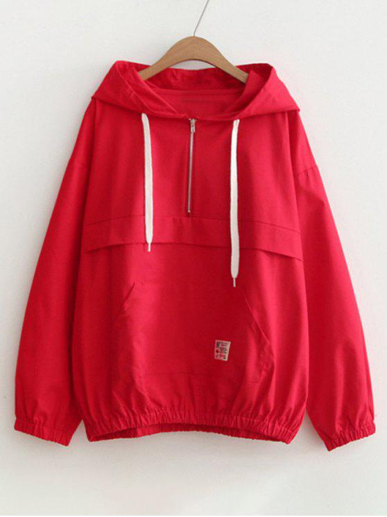 women Patched Pocket Half Zip Hoodie - RED ONE SIZE