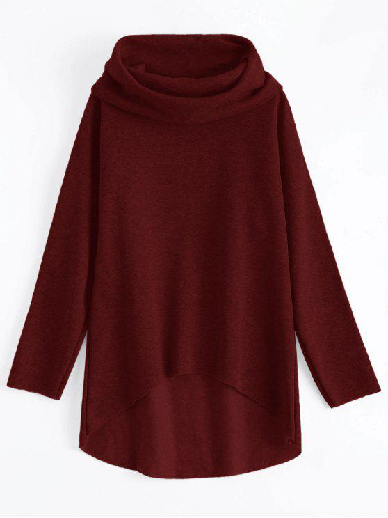 sale High-Low Tunic Hoodie - WINE RED L