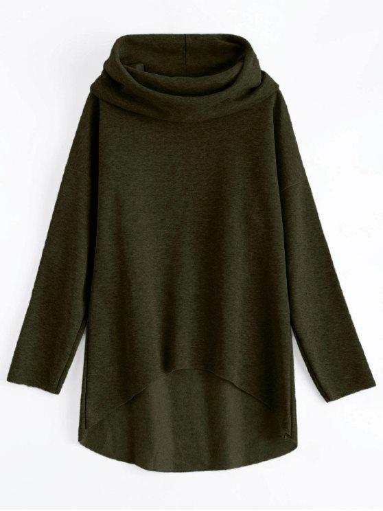 hot High-Low Tunic Hoodie - ARMY GREEN S