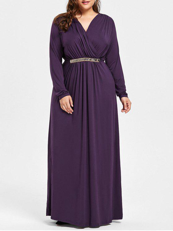 فستان الحجم الكبير حجر الراين مطرز كهنوتي ماكسي - ديب بيربل XL