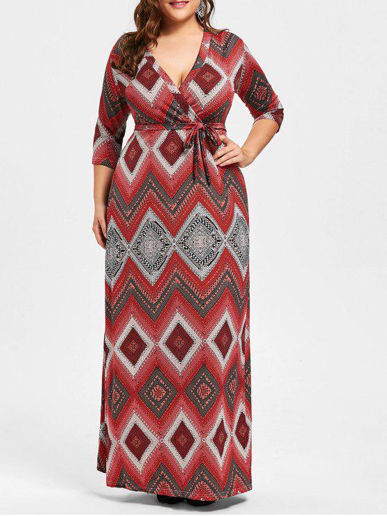 فستان طويل مزين بطبعة أشكال هندسية - أحمر 5XL