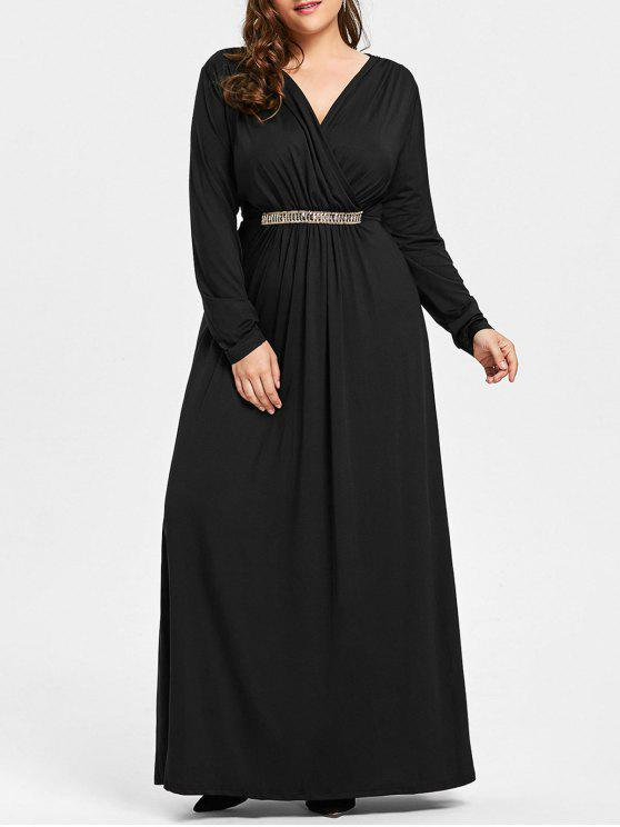 فستان الحجم الكبير حجر الراين مطرز كهنوتي ماكسي - أسود 3XL
