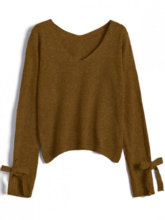 hot V Neck Bow Tied Sweater - LIGHT COFFEE ONE SIZE