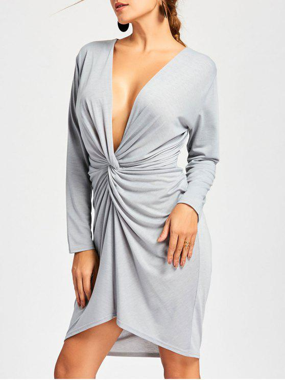 60897e355007 28% OFF  2019 Long Sleeve Twist Front Low Cut Dress In GRAY