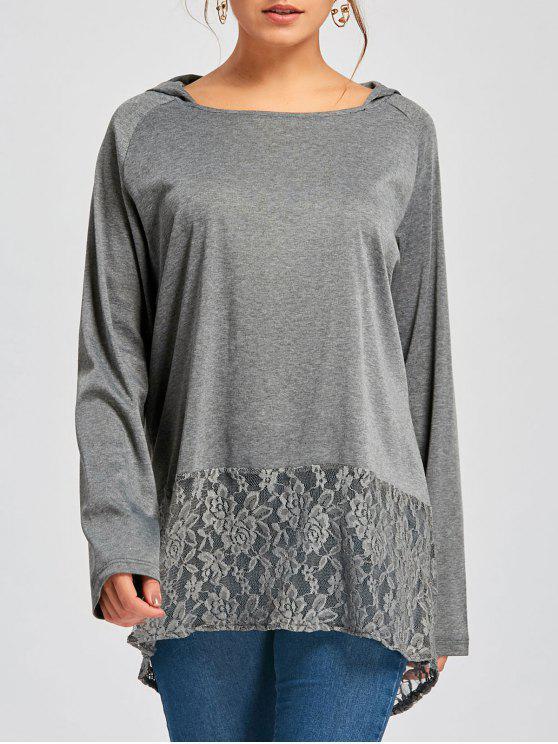 Kapuzen-Raglanärmel Spitzeneinsatz Tunika T-Shirt - Grau und Dunkel Grau L