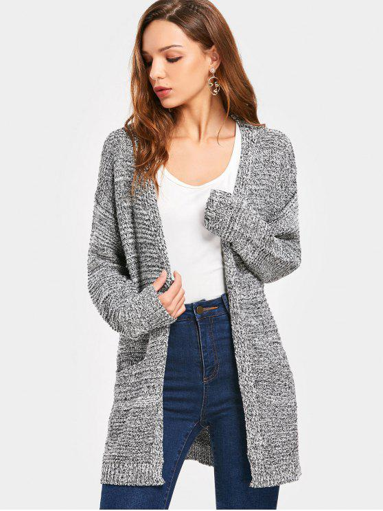 women Drop Shoulder Pockets Cardigan - HEATHER GRAY ONE SIZE
