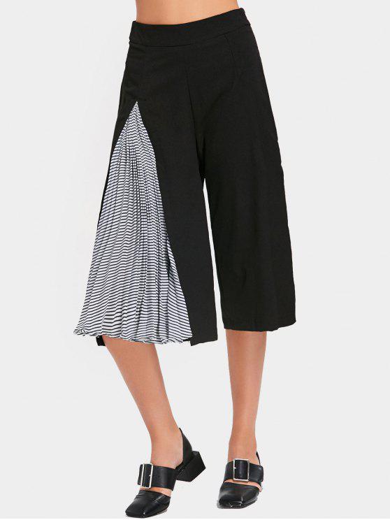 Pantalon Gaucho Plissé à Rayures et Taille Haute - Noir M