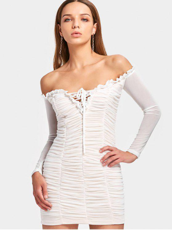 affordable Off The Shoulder Ruched Mesh Dress - WHITE S
