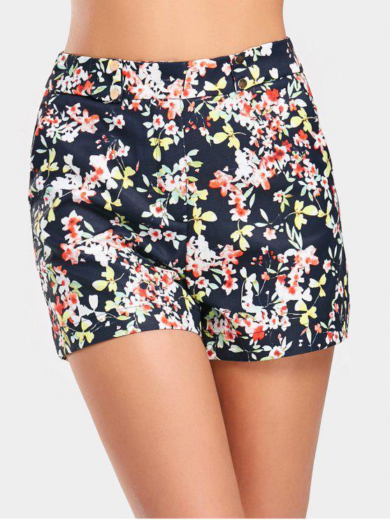 ladies High Waist Floral Print Shorts - FLORAL L