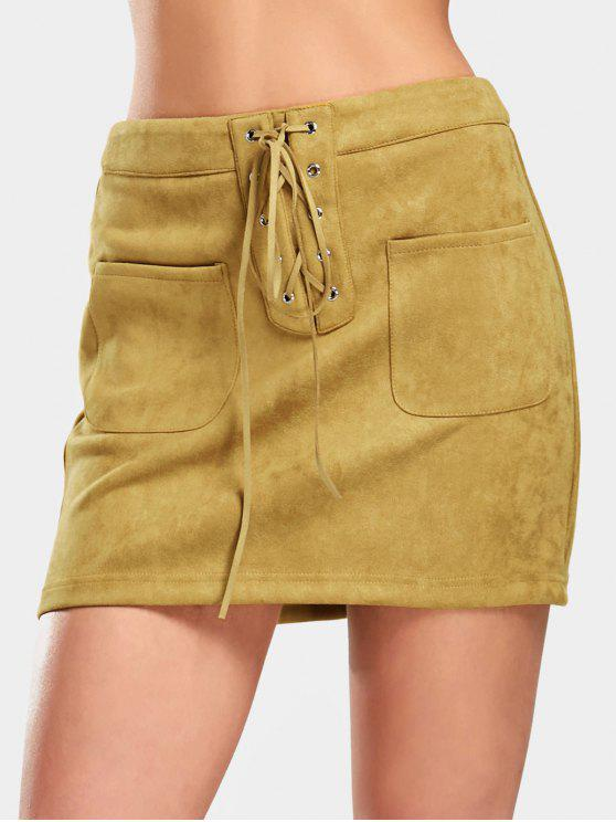 womens Lace Up Faux Suede Skirt with Pockets - GINGER M